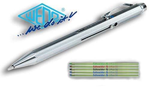 WEDO Vierfarb-Kugelschreiber mit Schiebemechanik (Inkl. Ersatzminen), Metall