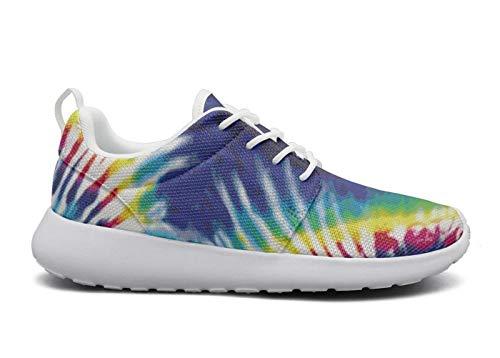 ThreeIn Running Shoes Women Trippy Tie Dye Cushioning Walking Shoes for Women Walking Sneakers Low Cross Low top Sport Shoes