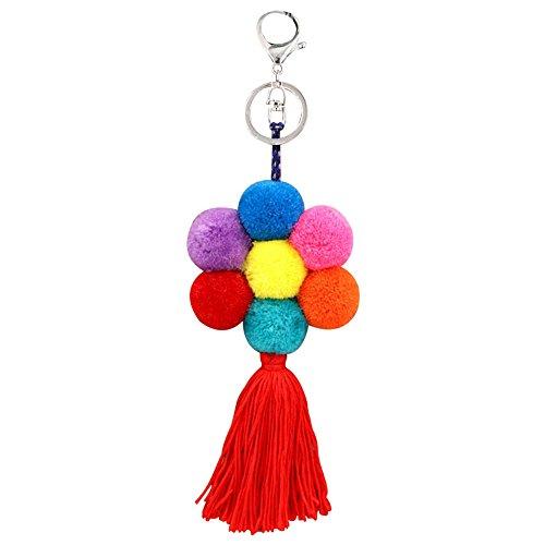 Rieten handtas bedels Pompom hanger handtas kleurrijke bloem sleutelhanger kwast ornamenten