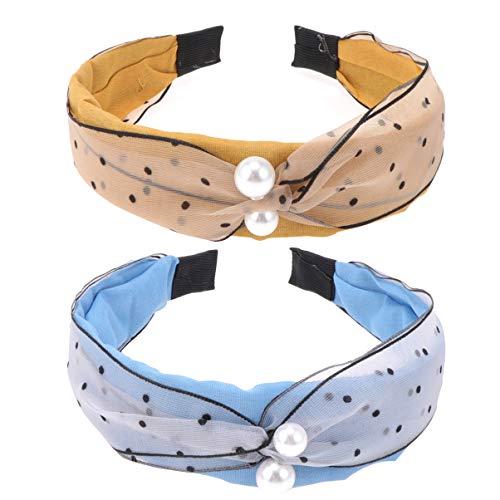 Lurrose 2pcs perle noeud bandeau polka dot large bandeau dur élégant twist cheveux cerceau pour les femmes