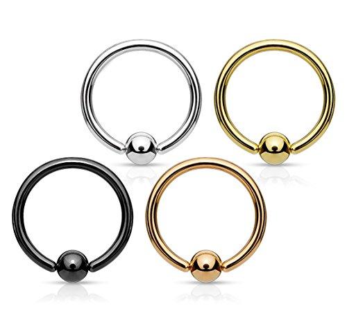 Kultpiercing - 4er Piercing-Set Klemmkugelring Septum Cartilage Helix Daith Smiley Nasen Piercing Silber, Gold Rosegold u. Schwarz - 0,8 x 6 mm