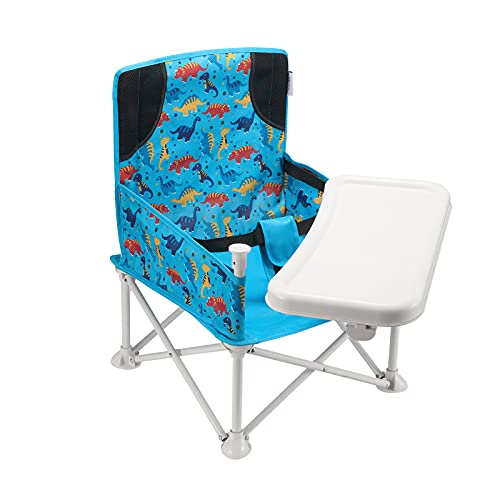 VEEYOO Travel Booster Seat - Booster Seat for Table with Removable Dining Tray, Portable Baby Chair for Indoor/Outdoor, Camping, Picnic, Beach | Folding, Compact Baby Seat with Storage Bag(Dinosaur)