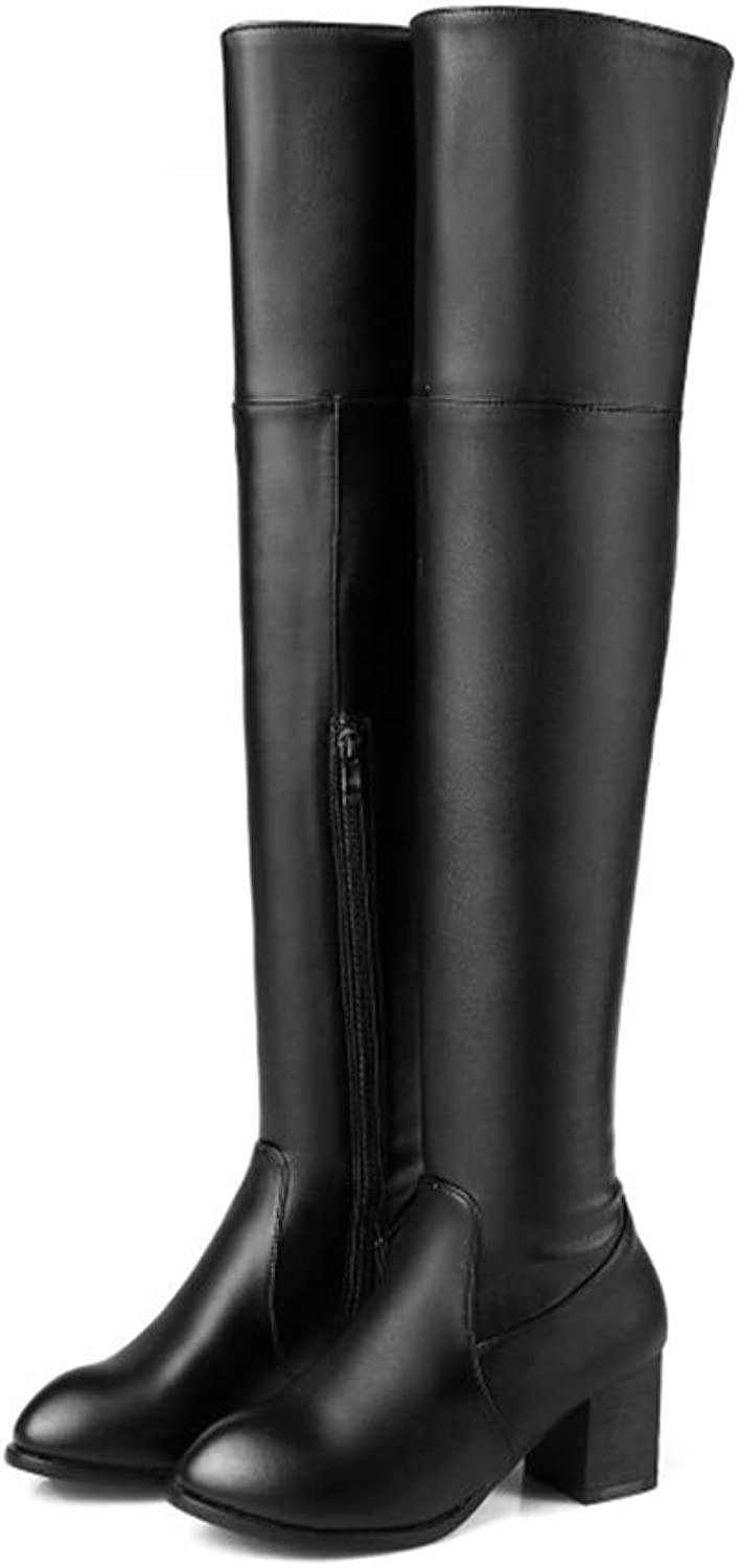 Hoxekle Woman Over The Knee High Boot Mid Square Heel Round Toe Zipper Ladies Sexy Party Ridding Thigh High Boots