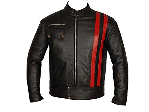 AZ Smart Cafe Racer Veste de moto en cuir à rayures Style rétro - Noir - XL