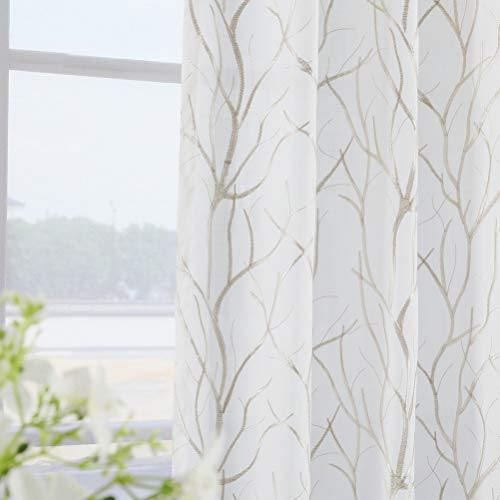 Twin Six Embroidered Curtains Tree Branch Design Curtains Faux Linen Drapes Rod Pocket with 7 Back Loops for Bedroom/Living Room (Ivory White/Tan, 52 x 63,2 Panels)