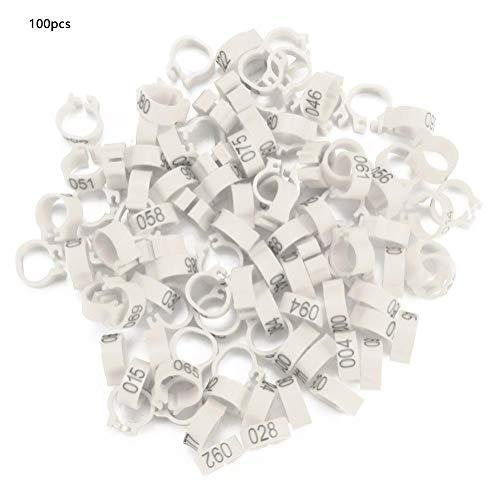 Pssopp 100 Stück Taubenringe 8 mm Vogel Taube Bänder Taubenfußringe Kunststoff Geflügelbeinringe für Geflügel Vögel(Weiß)