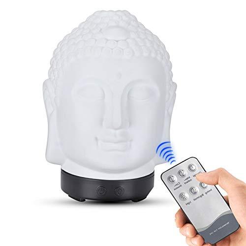 QIMO Difusor De Aceite Esencial, Cabeza De Buda, Humidificador, Lámpara De Noche,...