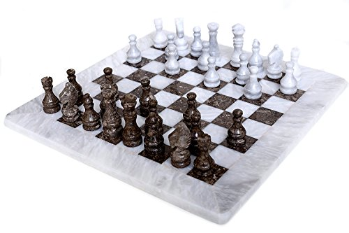 RADICALn 15 Inches Large Handmade White and Grey Oceanic Weighted Marble Full Chess Game Set for Adults Staunton and Ambassador Gift Style Tournament Chess Sets -Non Wooden -Non Glass -Not Backgammon