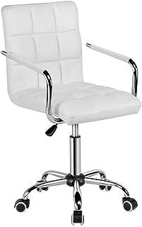 MHIBAX Gaming ChairChaise de Bureau Chaises de Bureau Blanches avec Roues/Bras Chaise deBureau Moderne en Cuir PU Cha...