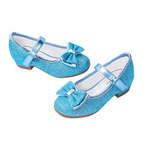 STELLE Girls Mary Jane Glitter Shoes Low Heel Princess Flower Wedding Party Dress Pump Shoes for Kids Toddler(T08-Blue, 12ML)