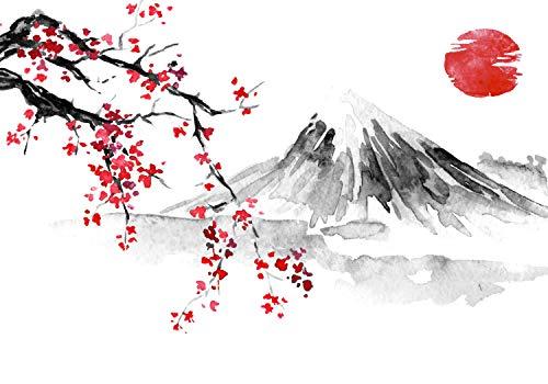 wandmotiv24 Fototapete Japanischer Stil Landschaftszeichnung, S 200 x 140cm - 4 Teile, Fototapeten, Wandbild, Motivtapeten, Vlies-Tapeten, Japan Kunst M5928