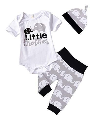 Sfuzwg 3tlg Baby Kleidung Set Baby Jungen Mädchen Kleidung Langarmbody Strampler Hose Mütze Kleinkinder Neugeborene Weiche Warme Babyset (Weiß-Kurzarm, 0-3 Monate)
