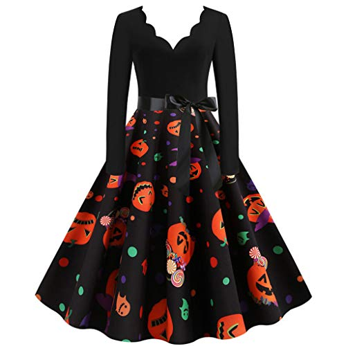 Mirlise Women 50s Dresses Vintage Long Sleeve Halloween Housewife Evening Party Prom Dress