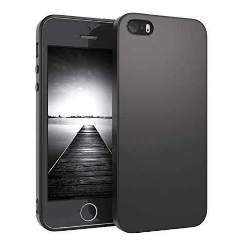 EAZY CASE Handyhülle Silikon mit Kameraschutz kompatibel mit Apple iPhone 5 / iPhone 5S / iPhone SE (2016) in Schwarz Matt, Ultra Dünn, Slimcover Silikonhülle, Hülle, Softcase, Backcover