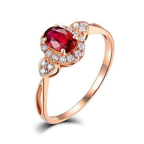 Beydodo Anillo Mujer Boda,Anillo de Boda de Oro Rosa 18K Mujer Oro Rosa y Rojo Oval con Corazón Rubí Rojo 0.57ct Diamante 0.18ct Talla 16(Circuferencia 56MM)