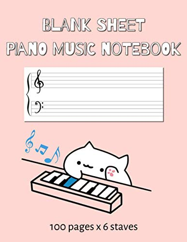 Blank Sheet Piano Music Notebook: 100 Pages of Wide Staff Paper (8.5x11) for kid to learn piano