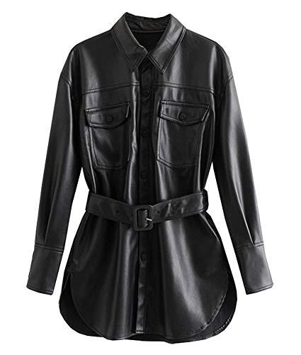 CYSTYLE Damen PU Leder Hemd Bluse Langarmshirt Persönlichkeit Freizeit Festlich Party Kleidung Mode Elegant Streetwear Hemd Oberteil Clubwear Mantel mit Belt (L)