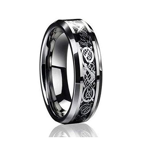 Free Engraving 6mm Tungsten Carbide Celtic Knot Dragon Over Black Carbon Fiber Inlay Wedding Band Ring for Men Or Ladies