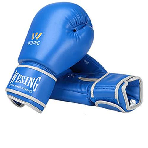 LBYSK Dedo Guantes de Boxeo Guantes de Hombres y Mujeres Adultos Profesional Entrenamiento de la Aptitud de Microfibra de Muay Thai Boxing Glove Completa ponche Equipo de Entrenamiento,Ablue,12oz