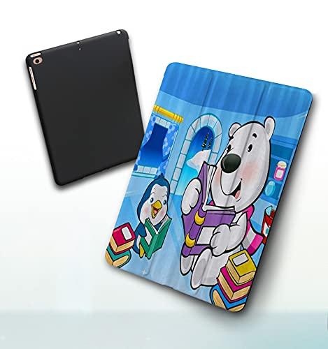 Muu3 iPad Custodia Compatibile con New iPad 9.7 Pollici,L orso Polare e Il Pinguino del Fumetto dei Bambini Stanno leggendo iPad Air 6a Gen  5a Gen Case 2017 2018, Case per Tablet in PU,
