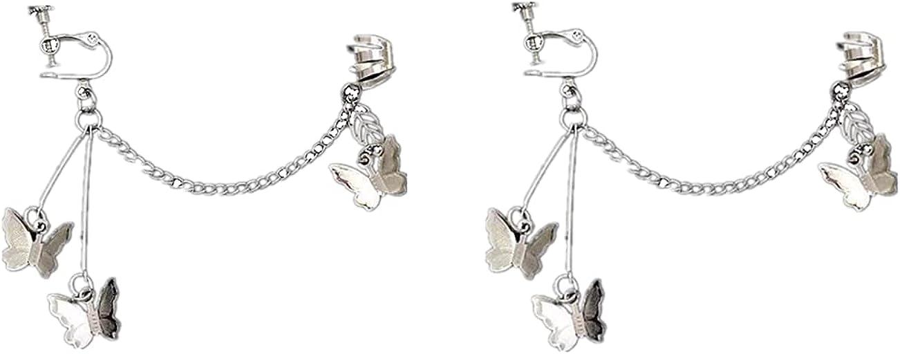 Cuff Tassel Butterfly Earrings Hip Hop Butterfly Ear Clip Earrings for Women Girls