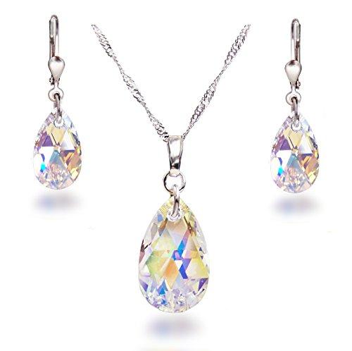 Schöner SD Schmuckset 925 Silber Rhodium Swarovski® Kristall Tropfen Crystal Aurora Boreale