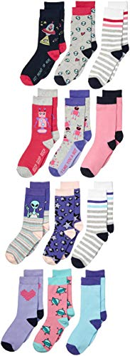 Amazon Brand - Spotted Zebra Kids Girls Crew Socks, 12-Pack Robots and...