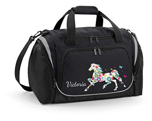 Mein Zwergenland Sporttasche Kinder mit praktischem Schuhfach Coole Sporttasche Blumenpferd als Aufdruck Farbe Schwarz 39 L Stauraum die perfekte Sporttasche für Kinder