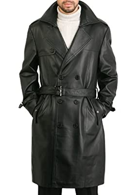 BGSD Men's Xander Classic Leather Long Trench Coat Black Large by