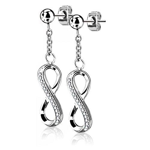 bungsa de mujer pendientes infinity pendientes amor infinito con cristales de plata I alta calidad Pendientes con colgante Infinito para mujeres Acero Inoxidable