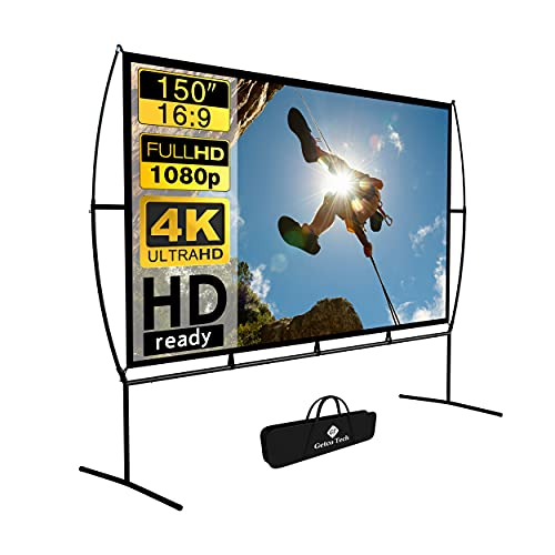 Projector Screen, Outdoor Projector Screen 150 Inch 16:9 4K HD Foldable Projector Screen with Stand...