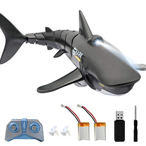 2.4G Remote Control Shark Toy 1:18 Scale High Simulation Shark Shark for Swimming Pool Bathroom Great Gift RC Boat Toys for 5+ Year Old Boys and Girls