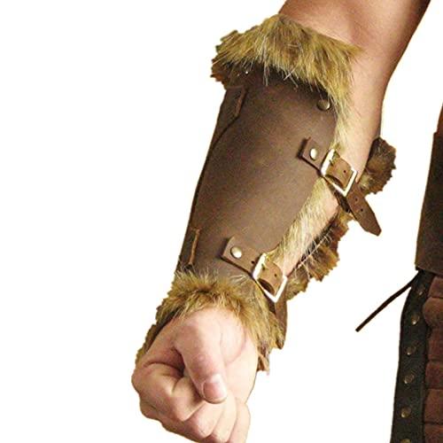 SKSNB 1 par de Hombres Adultos Guerrero Medieval Caballero Larp Armadura de Cuero Brazalete con Hebilla Armadura de Plumas Steampunk Arquero guantelete Disfraz de Cosplay Vikingo, Negro
