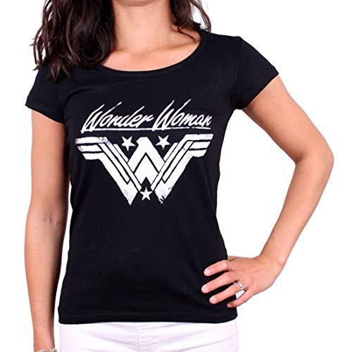 Wonder camiseta algodón negro logotipo señoras mujer