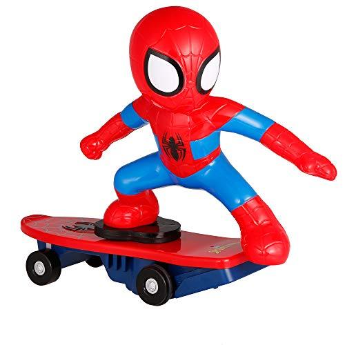 MODELTRONIC Coche RC superhéroes de Juguete Patinete RC de Spiderman Giratorio Skateboard Marvel Oficial 2.4Ghz con Sonidos antivuelco M021