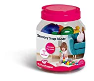 14 colourful, textured beads. Soft, flexible beads snap together and break-apart easily. Lumpy, bumpy surfaces provide an easy, sensory grip for little hands. Designed to stimulate and develop fine motor skills. Suitable from 12 months.