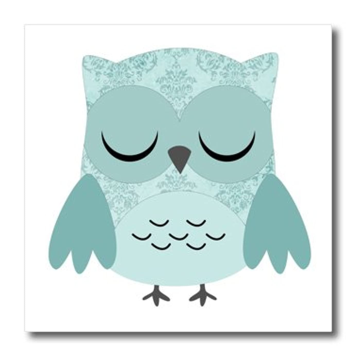 3dRose ht_61000_3 Cute Blue Damask Owl Iron on Heat Transfer Paper for White Material, 10 by 10-Inch