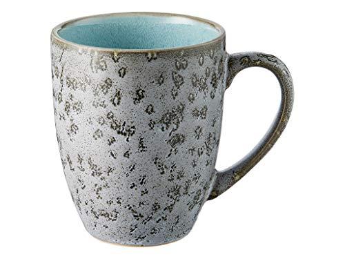 BITZ Kaffeetasse/Kaffeebecher, Tasse aus robustem Steinzeug, 30 cl, grau außen/hellblau innen
