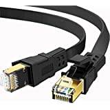 Cat 8 Ethernet Cable 6 ft, 26AWG Heavy Duty High Speed RJ45 Patch Cord, Cat8 LAN Gold Plated 40Gbps 2000Mhz Network, Indoor, Outdoor & Weatherproof S/FTP UV Resistant for Router/Modem/Gaming/Switch