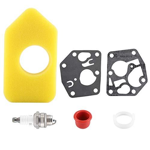 Filtro de aire, junta de diafragma del carburador Filtro de aire Kit de bujías para Briggs & Stratton Muchos motores pequeños piezas de accesorios para cortacésped Kit de carburador