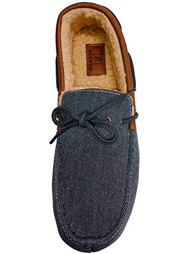 George Mens Blue Denim Memory Foam Loafers Slippers Sherpa House Shoes Large 11-12