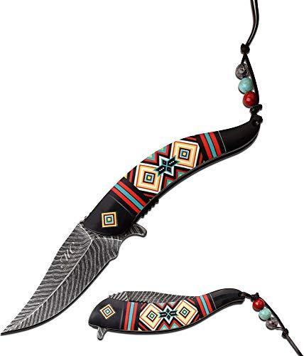 Native American Indian Collection Cuchillo asistido, Color Negro