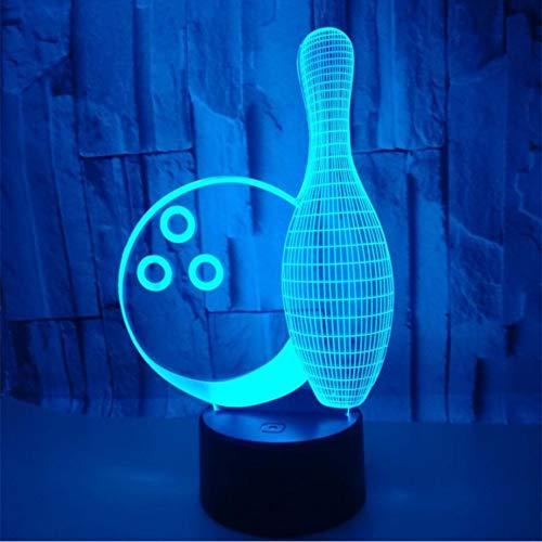 Ganjue Lámpara Táctil De Colores Ilusión 3D Llevó La Luz De La Noche Usb Lámpara De Mesa Para Niños Bebé Regalo De Los Niños Dormitorio Cabecera Bola De Bowling Lámpara 3D