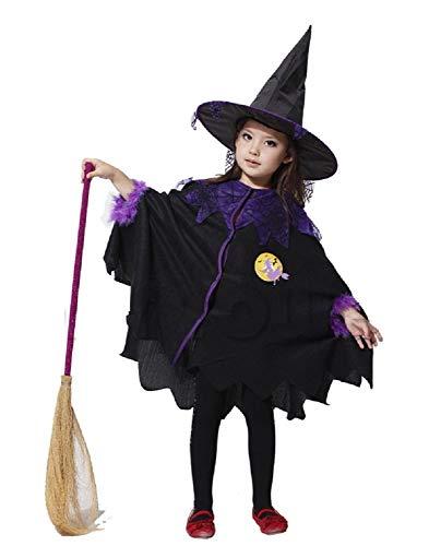 Lovelegis Disfraz de Bruja niña - Bruja niña - hechicera - Disfraz - Carnaval - Halloween - Cosplay - Accesorios - Talla m (110/120 cm)