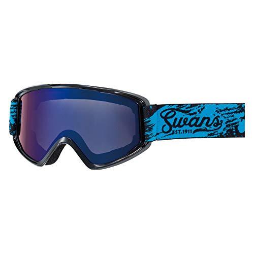 SWANS(スワンズ) スキー スノーボード ゴーグル くもり止め ミラーレンズ コンパクトモデル 170 170-MDH_MBK マットブラック/オレンジミラー×グレイ
