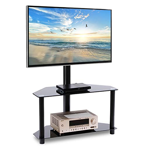 "Rfiver Corner Floor TV Stand with Swivel Mount for Most 32""-55"" LED, LCD, OLED and Plasma Flat or Curved Screen TVs, Height Adjustable 3-in-1 Entertainment Stand in Black"