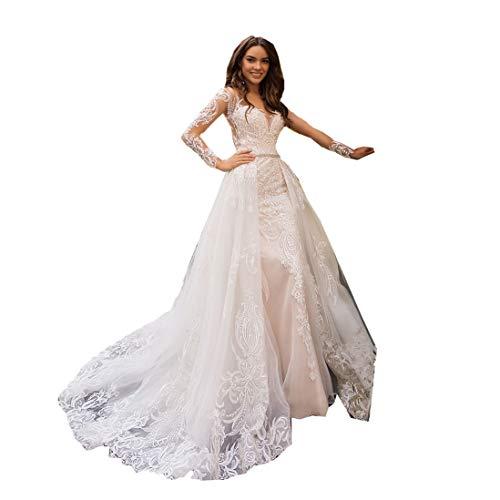 2 Stück Spitze Meerjungfrau A-Linie Ärmel Ballkleider Hochzeitskleider für Damen Brautkleider Prinzessin mit Schleppe Abnehmbare Rock