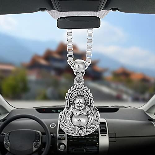 Car Pendant Charms Alloy Laugh Buddha god Rearview Mirror Decoration Hanging Automobiles Decor Ornaments Accessories Car-styling Colgante Decoración de Pared Auto