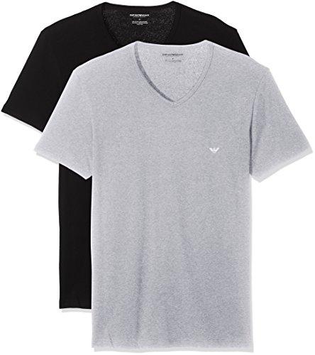 Emporio Armani Underwear Herren 111648CC722 Schlafanzugoberteil, Mehrfarbig (NERO/GRIGIO MELANGE 97120), X-Large (2er Pack)