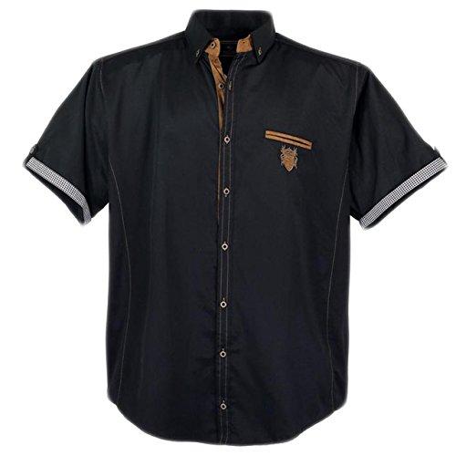 Sportliches Herren kurzarm Hemd von Lavecchia in Übergröße schwarz Größe: 5XL